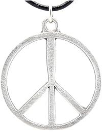 398f5e7cf334 Trilogy Jewelry Peltre Classic símbolo de la Paz 60s Hippie Colgante de  Collar de Cuero