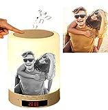 Benutzerdefiniertes Foto Nachttischlampe mit Bluetooth Lautsprecher, LED Nachtlampe Stimmungslicht mit Dimmer und Touch, Haken Design für Camping, Romantische Geschenke (Schwarzweiß drucken)