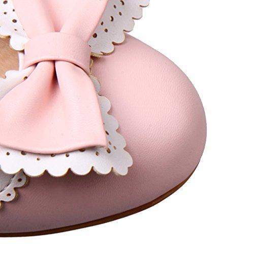 UH Femmes Sandales Bout Rond à Talons Moyen Carre avec Noeuds Papillon et Lace Douce et Confortables Rose