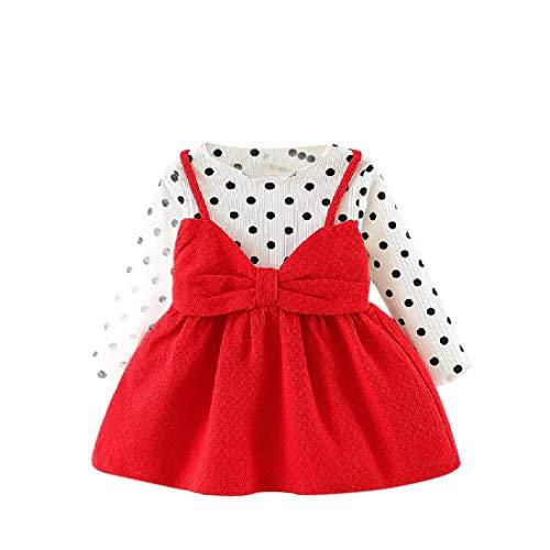 CuteRose Girls Kids Bowknot Long-Sleeve Polka Dot Party Wedding Dresses Red 70 (Und Wedding Teal Red)