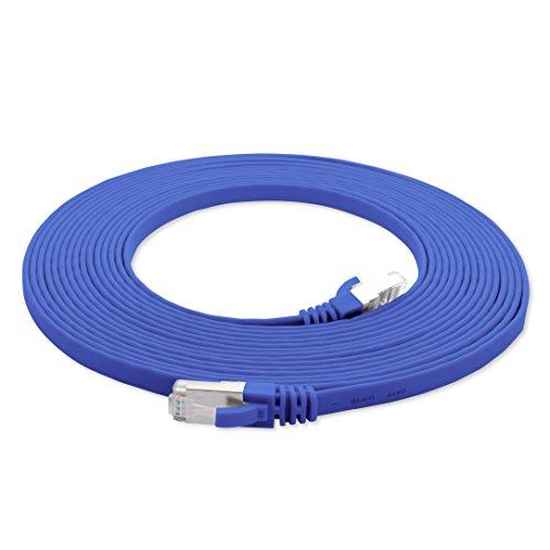 1aTTack.de 15m - blau - 1 Stück Cat7 Flachkabel Netzwerkkabel Cat 7 Rohkabel Gigabit LAN (10Gbit/s) Flachbandkabel Verlegekabel Patchkabel Flach Slim Rj 45 Stecker Cat6a