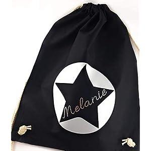 Turnbeutel Stern mit Namen aus Swarovski® Kristallen. Stoffbeutel, Zugbeutel mit Namen personalisiert. Personalisiertes Geschenk.