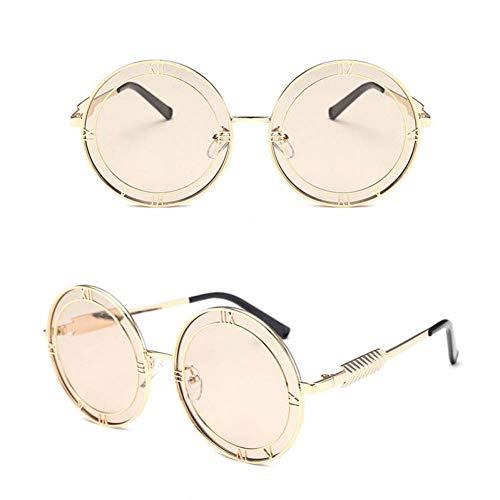 WSXCDEFGH Sonnenbrille FrauenMetallrahmen Brillenzubehör Designer Runde Stil Plat Spiegel römische Ziffer Gläser -