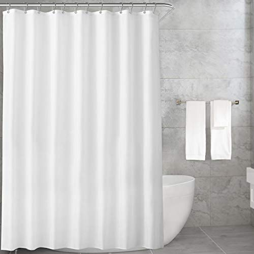 Carttiya Duschvorhang Textil, Anti-Schimmel, Wasserdichter, Waschbar Stoff Polyester Badewanne Vorhang, mit 12 Duschvorhängeringen, 180x200cm, Weiß
