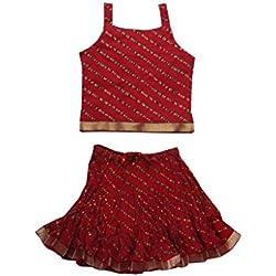 Jaipur Kala Kendra Baby Girls Casual Skirt Top Party Dress Lehanga Choli Summer Kids Gift Skirts Tops Blouse Maroon 5-6 Years