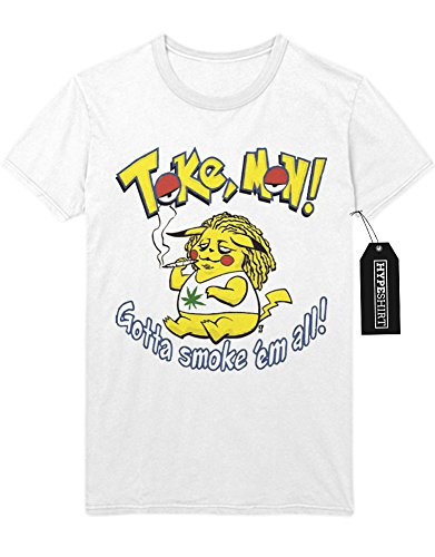 T-Shirt Pokemon Go Toke Mon Gotta smoke 'em all Trainer Triforce Heiligtümer des Todes Harry Potter Kanto Official Gym Leader X Y Nintendo Blue Red Yellow Plus Hype Nerd Game C123131 Weiß