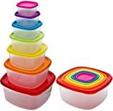 7 x Clear Plastic Food Storage Box Containers With Multi Colour Lids