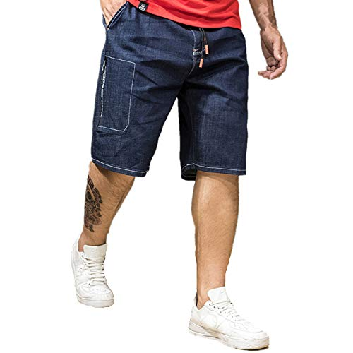 Jeans Shorts Herren Kurze Denim Hose Mit Destroyed Optik Aus Stretch Material Sommer Slim Fit Vintage Bermudas Cargohose Sweatpants Qmber Spitze elastische Taille Größe fünf Punkte Overalls(Blue,3XL) -