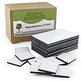 OfficeTree - 70 láminas de imán, 20 x 20 mm, autoadhesivas para una imantación fiable de carteles, fotos o papel, fuerza de adhesión extra fuerte en pizarras blancas imantadas, color negro