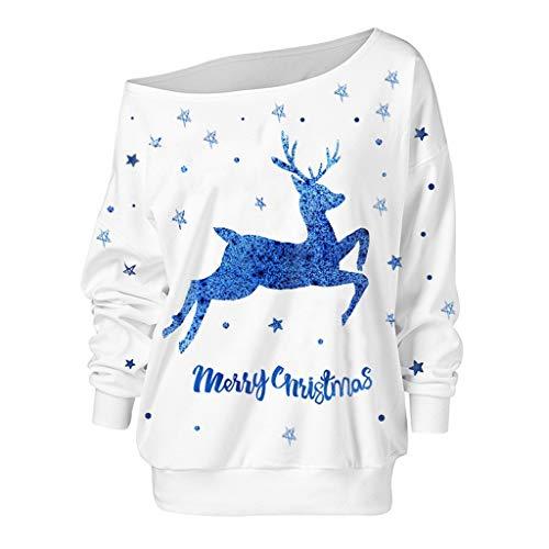 Weihnachten Pullover Damen,ZuzongYr Weihnachten Hemd Damen Mode Xmas Elch Druck Loose Partykleid Schiefer Kragen Off-Shoulder Sweatshirt(XL,White) -