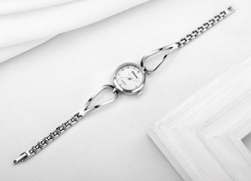 ETEVON Frauen Quarz Silber Armbanduhr mit Kleine Crystal Zifferblatt und Hohlen Armband Wasserdicht Lässig Einfache Verkleiden Armbanduhren für Damen - 6
