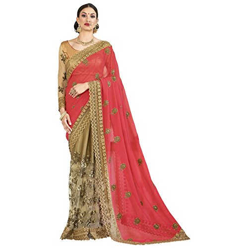 Triveni Womens Faux Georgette Embroidered Wedding Beige Colour saree with Blouse -RTSNAR3805