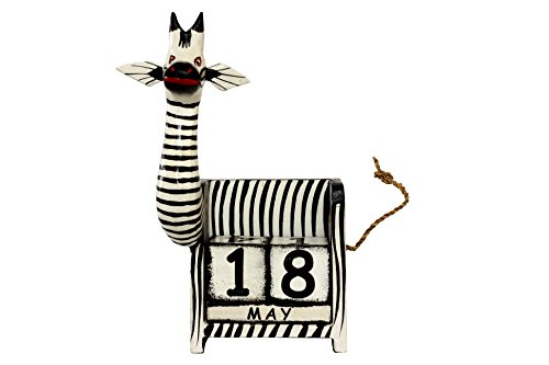 G6 COLLECTION Wooden Perpetual Zebra Calendar Handmade Unique Removable Blocks
