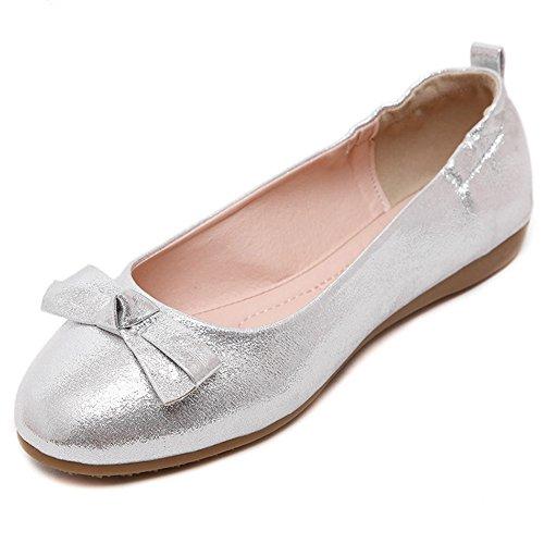 Damen Frühling Licht Lackleder Omelett Schuhe Rund Zehen Sommer Low-Top Schuhe Silber