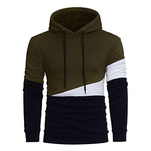 Oliven-armee Pullover-sweatshirt (Herren Hooded Sweatshirt Btruely Herbst Winter Männer Nähen Pullover Retro Hoodie Sportoberteile (M, Armee Grün))