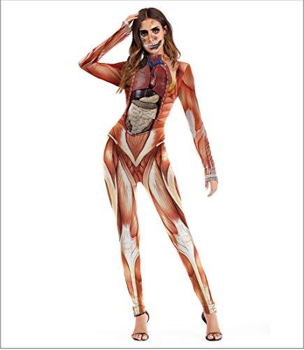 Tuta intera di tuta intera di catsuit di tuta di cosplay 3d di scheletro di stampa 3d di osso della tuta delle donne costume di halloween,t1004,l/xl