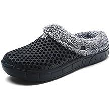 HangFan Zuecos de las mujeres de los hombres Zuecos en los zapatos de jardín Zuecos de piel en los tobillos Chanclas Cálido zapatilla de invierno
