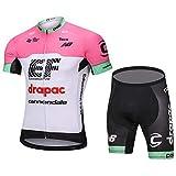 MOLCYZ Maillot Ciclismo para Hombre, Maillot Ciclismo Conjunto Jersey + Culotte Corto con Gel 4D Acolchado,Pink,L
