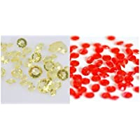 JOYDIY Lot de 4000 confettis diamants pour décoration de table - Assortiment Or clair/Rouge - 4.5mm