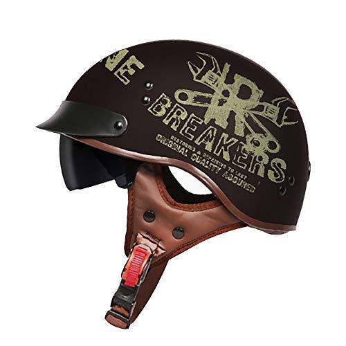 H_y Offene Visier Crash Motorradhelm, Ohr Sonnenbrille Retro-Stil Lokomotive männlich elektrische Motorradbatterie halben Helm,XL