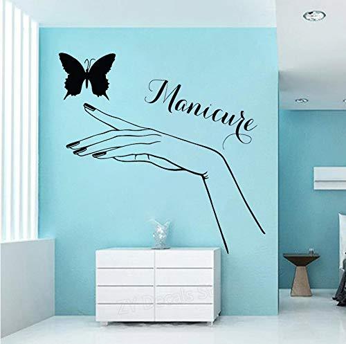 (Wiwhy Maniküre Pediküre Wandaufkleber Schöne Mädchen Hand Und Schmetterling Vinyl Wandtattoo Für Schönheitssalon Nagelstudio Shop Zeichen 57X56 Cm)