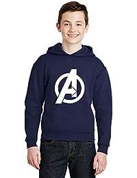Avaatar Navy Blue Hooded Superhero Sweatshirt for Kids (Avenger, 8-9 Years)