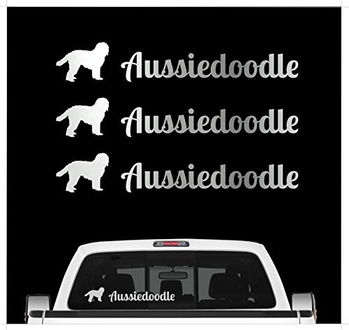 Siviwonder Aussiedoodle - Mix Pudel Australian Shepherd - 3er Set Auto Aufkleber Autoaufkleber Hundemotiv Hundeaufkleber autoaufkleber Hund Folie Aufkleber Silber -