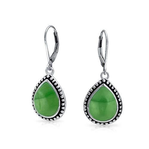 Bali Gefärbt Jade Gerahmte Birnenförmig Teardrop Ohrringe Leverback Für Damen Oxidierten Sterlingsilber