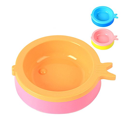wicemoon Pet Kunststoff Schale Schüssel Kunststoff Rutschfest Fisch Form Hunde Schüssel (Farbe erfolgt zufällig) -