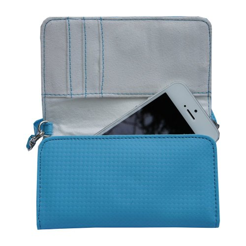 Geldbörse für Apple iPhone 5 / 5S / 5C, inkl. Handschlaufe und Schultergurt, Blau Designer Dress Form Set