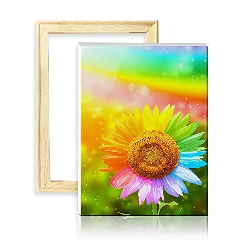 ufengke Bunte Sonnenblume 5D Diamant Malerei Set Mosaik DIY Diamond Painting nach Zahlen Kreuzstich Stickbilder, mit Holzkeilrahmen, Design 25x35cm -