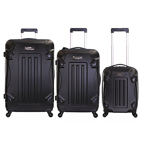 Ossett 3 Piece Hard ABS Luggage Set, Black