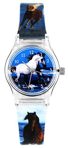 Pacific Time Kinder-Armbanduhr Mädchen Jungen Pferde Foto Motiv Uhr analog Quarz blau 20810