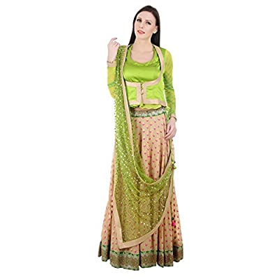 Devaleena Creations Old saree Border-Fawn Lehenga- green Koti style blouse-sequined Dupaatta for Girls