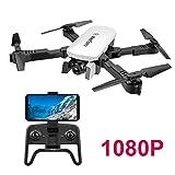 Adsvtech WiFi FPV RC Drone con cámara Doble 1080 HD para Principiantes Quadcopter Plegable, Belleza automática, fotografía de Gestos, Vuelo de trayectoria Blanco