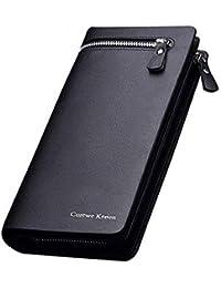 Hand Clutch Wallet by Nivera PU Leather Long Zipper Purse for Women & Men Card Holder Wallet - Black