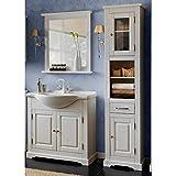 Lomadox Landhaus Badmöbel Set 3-teilig ● Kiefer Massivholz weiß Gebleicht ● Hochschrank, 85cm Waschtischunterschrank mit Keramik Waschbecken und Spiegel