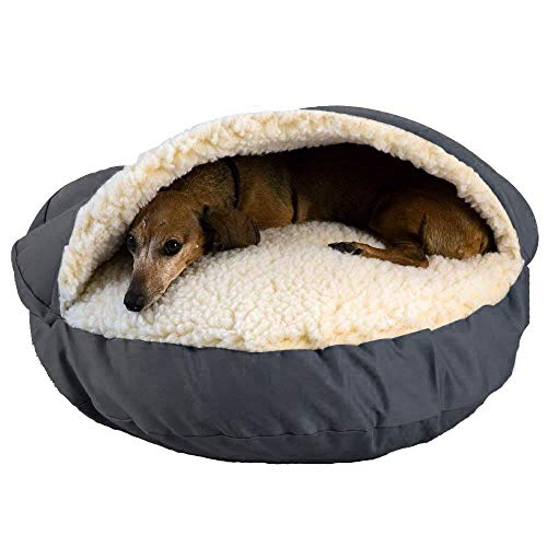 Hianiquaime Weich Warm Fleece Haustierbett Waschbar Wasserdicht Hund Katze Plüsch Bett Hütte Grau -