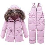 FAIRYRAIN Baby Kids Girls Boys 2pcs Hooded Fur Trim Letter Print Winter Warm Snowsuit Puffer Down Jacket with Snow Ski Bib Pants Set