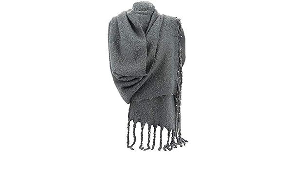 c07d30ab3b58d Charleselie94® - Grosse écharpe femme hiver laine perles gris VIENNE GRIS   Amazon.fr  Vêtements et accessoires