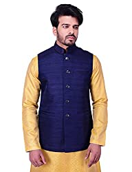 Manyavar Mens Waist Coat (WC00102-306_Royal Blue_X-Large)
