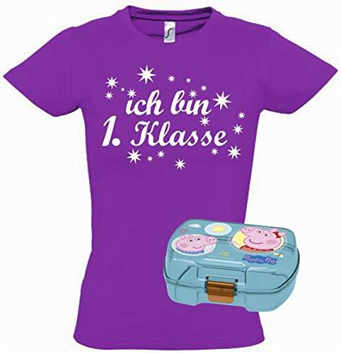 Last Kostüm Minute Super - Coole-Fun-T-Shirts Einschulungsset Peppa Wutz Brotdose Transparent + T-Shirt Schule Ich Bin 1.Klasse lila-Weiss Gr.140cm