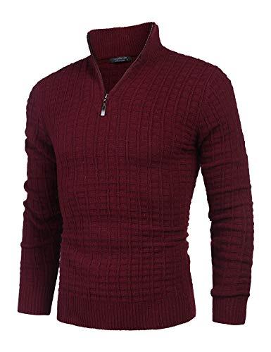 COOFANDY Herren Langarm Strickpullover Sweatshirt Golf Herren Baumwollpullover Mit Stehkragen Und Reißverschluss Winter- Strick- Pullover aus Baumwoll-Mix