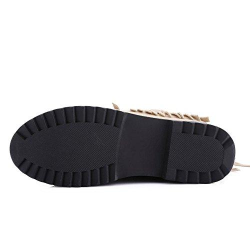 TAOFFEN Damen elegante klassische Plattformschuh -Absatz Fransen Stiefel mit Reißverschluss Beige