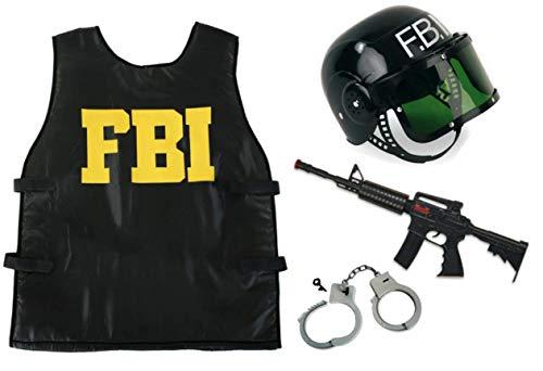 KarnevalsTeufel Kostüm - Set FBI für Kinder | 4-TLG. FBI-Weste, FBI-Helm, Handschellen und Spielzeug-Maschinengewehr | Agent, Geheimermittler, Security, Polizei, SWAT ()