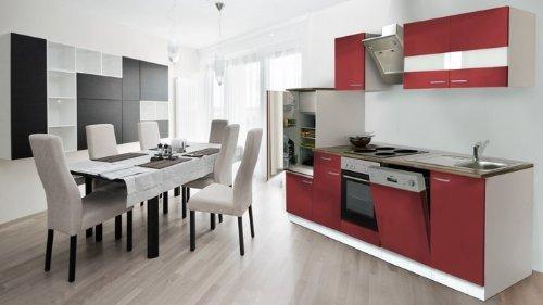 respekta Küchenzeile Einbauküche Küche Küchenblock 280 cm weiß rot SchräghaubeKB 280 WRS
