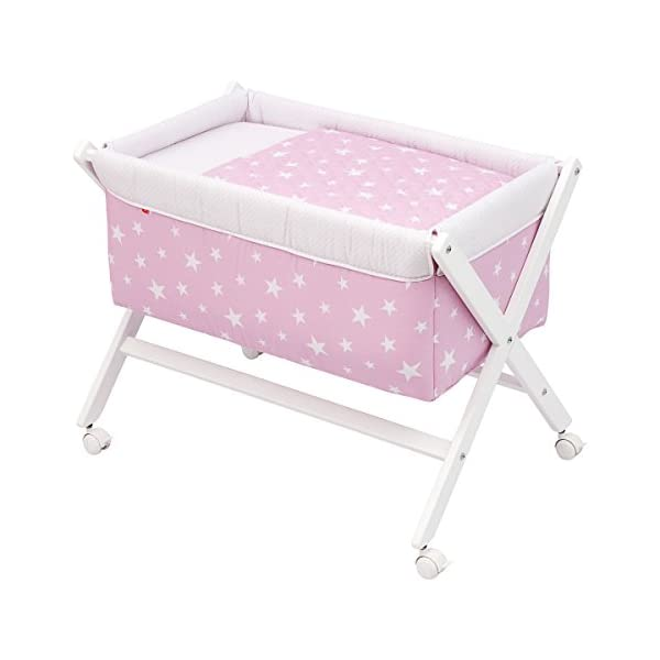 Cambrass Be Universe Small Bed X Wood, 55 x 87 x 74 cm, Une Pink  Wooden structure in white wood Suitable for the baby's first months 4 wheels: easy to move around the house 1
