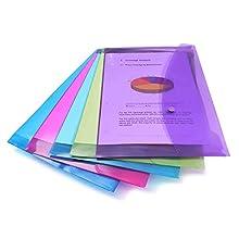 Rapesco 0688 A4/Foolscap Plastic Popper Wallet, Transparent Assorted Colours, Pack of 5
