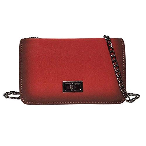 BZLine® Frauen Mädchen Mode Frosted Stil Solid Crossbody Schultertasche Rot