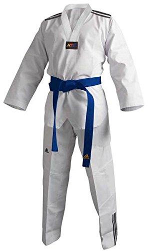 g, Adi Club 3 stripes, weißes Revers T/150 CM (Taekwondo-ausrüstung Von Adidas)